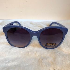 Madden Girl Wide Plastic Frame Sunglasses Blue